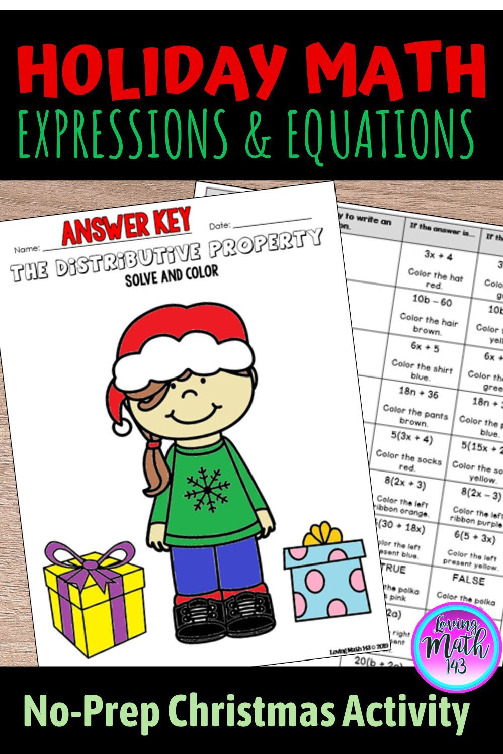 Equivalent Expressions Using The Distributive Property Christmas Activity Maths Activities Middle School Fun Math Activities Fun Math Worksheets [ 1500 x 1000 Pixel ]