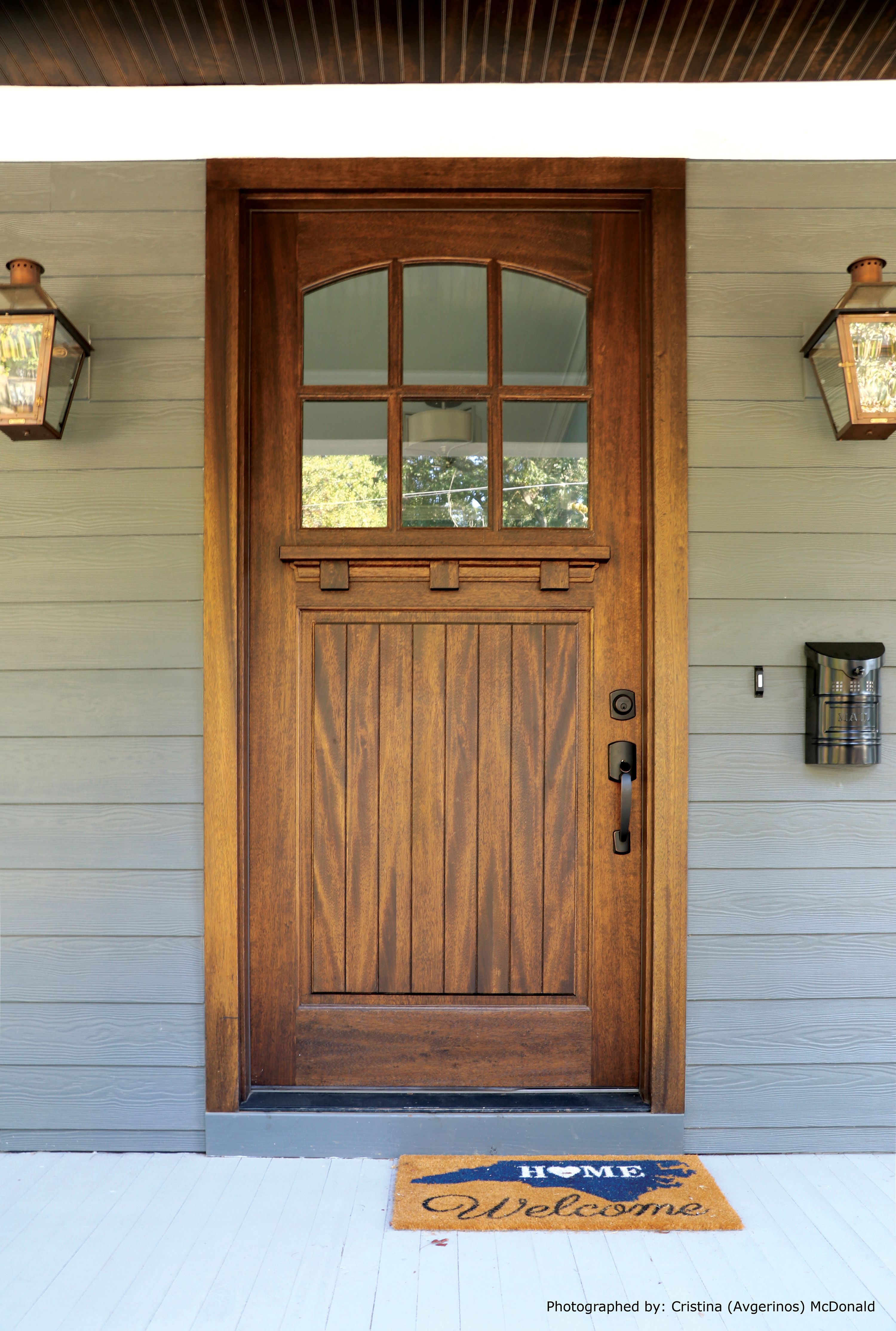 Lineville Single 3 6 X 8 0 Door Clear Beveled Glass Photographed By Cristina Avgerinos Mcdonald Craftsman Front Doors
