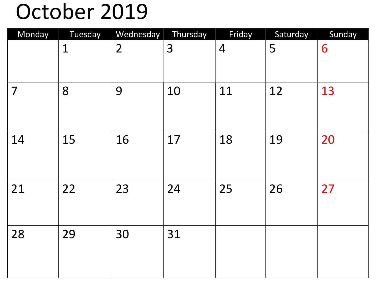 October Calendar 2019 Template Word Excel Calendar Calendar