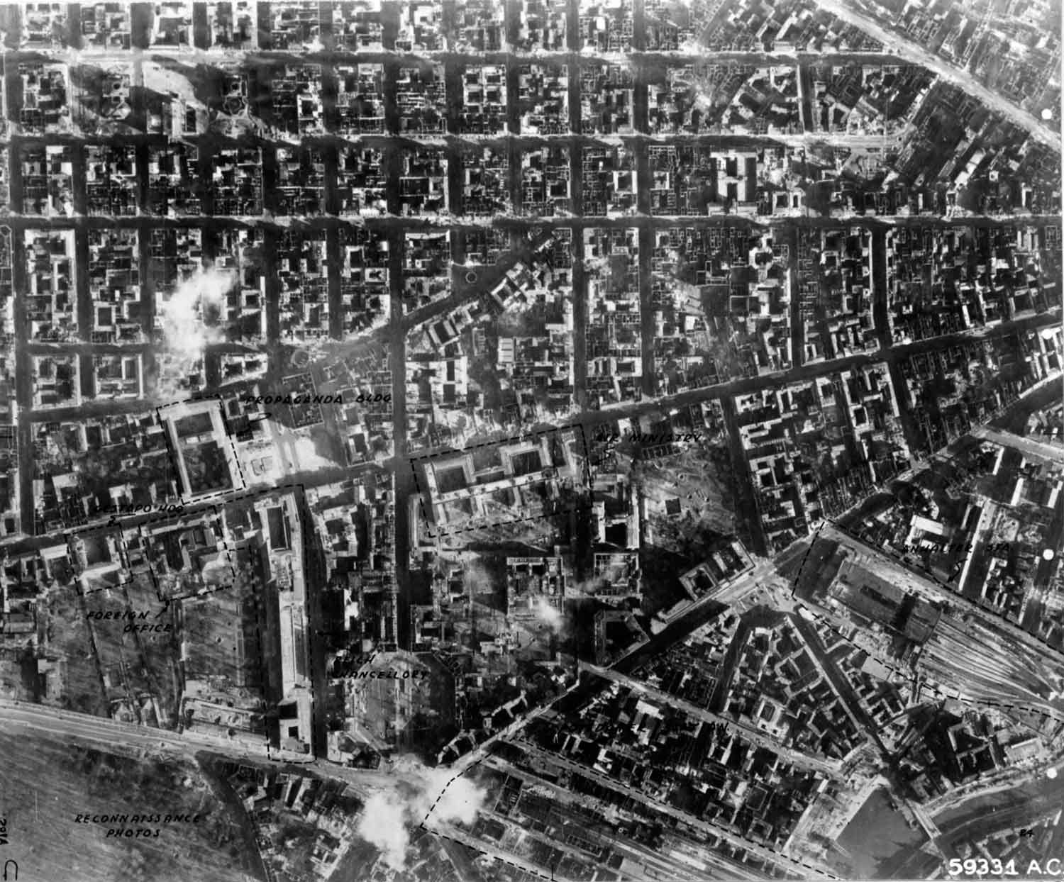 A reconnaissance picture of Berlin after 3 February 1945 US Eighth Air  Force raid. (