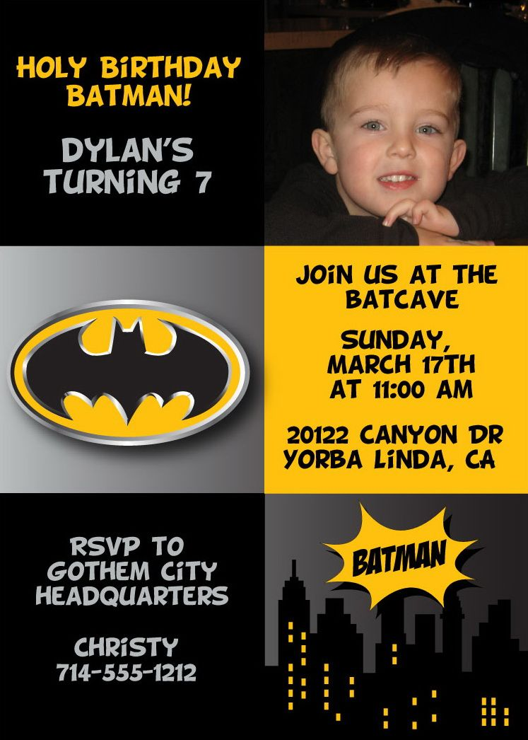 Batman Birthday Party Invitation | Pinterest | Batman birthday ...