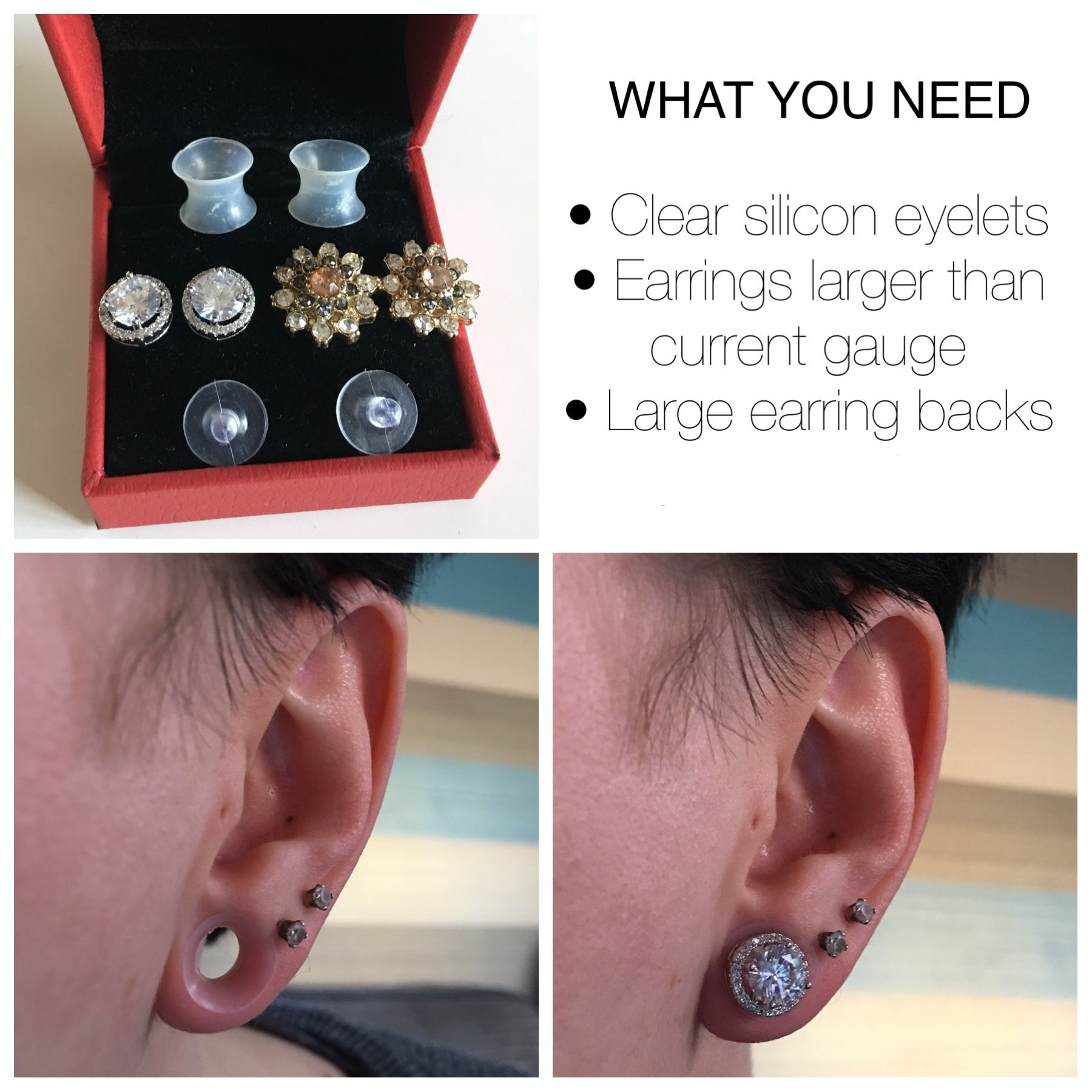 c8a4ec182 How to hide stretched ears using clear silicone eyelets, earrings larger  than current gauge and large earring backs. All easily bought from amazon
