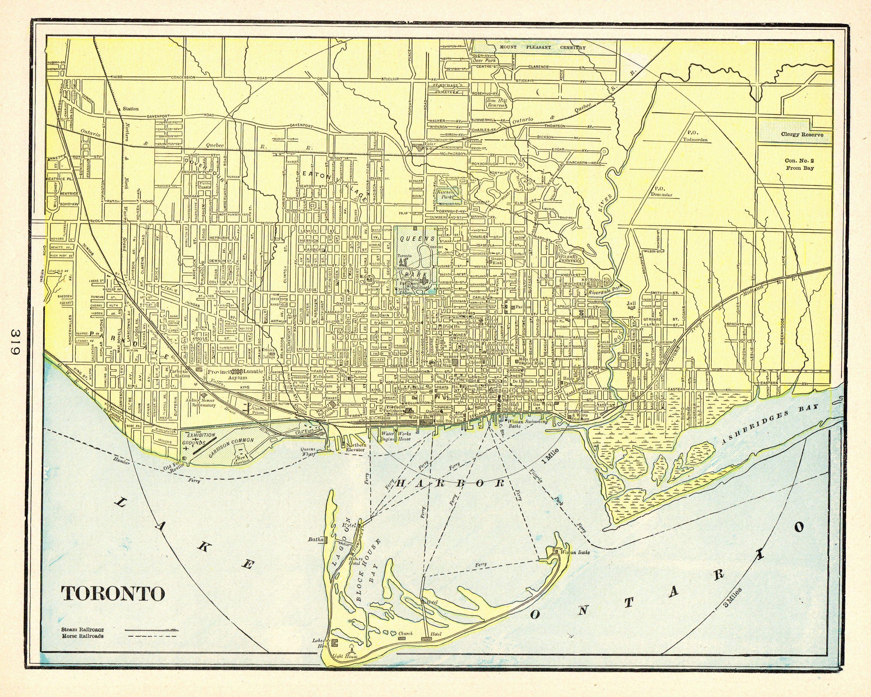 1901 Antique Toronto Canada Map Vintage Map Of Toronto City Gallery