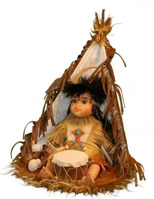 12 inch Indian Boy Doll Seated in Teepee Playing Drums in Window Box | eBay