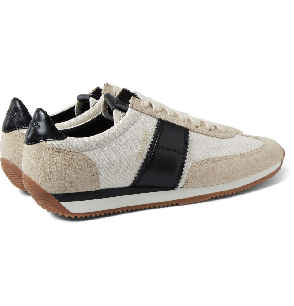 Tom Ford - Leather and Suede-Panelled Canvas Sneakers.