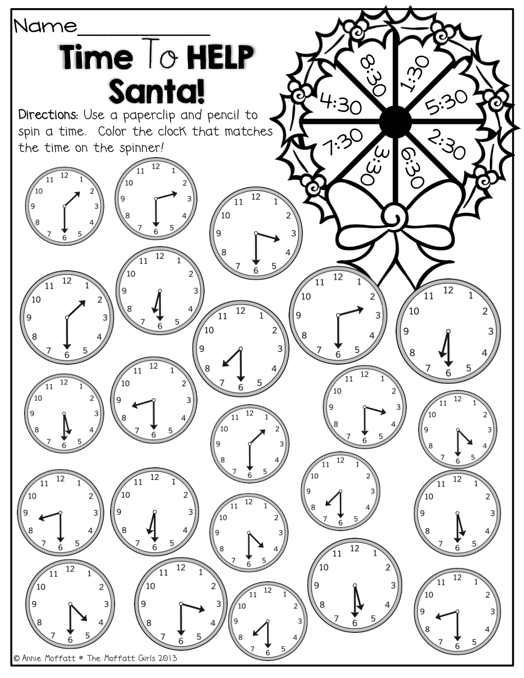 Spin a time on the wreath with a paper clip and pencil