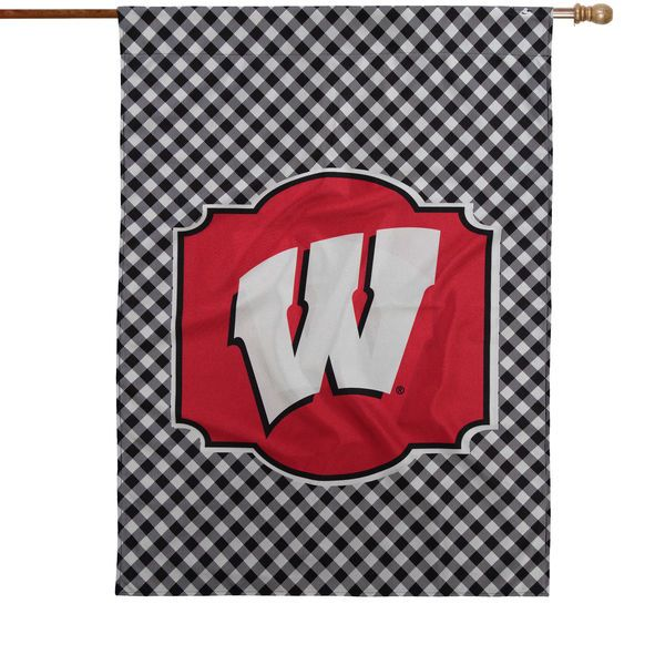 "Wisconsin Badgers 28"" x 40"" Gingham Design House Double-Sided Flag - $36.99"