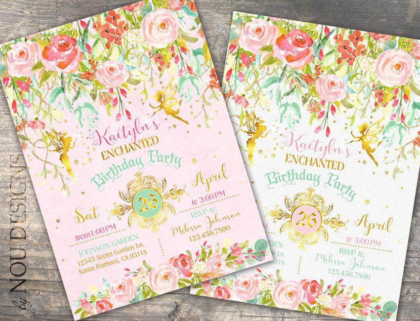 Glitter Sparkle Fairy Enchanted Garden Birthday Invitation