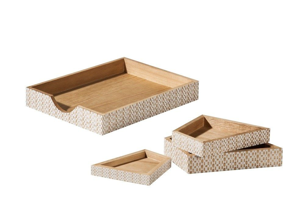 Four Angular Wood Desk Trays With White Pattern From The Nate Berkus For  Target Collection