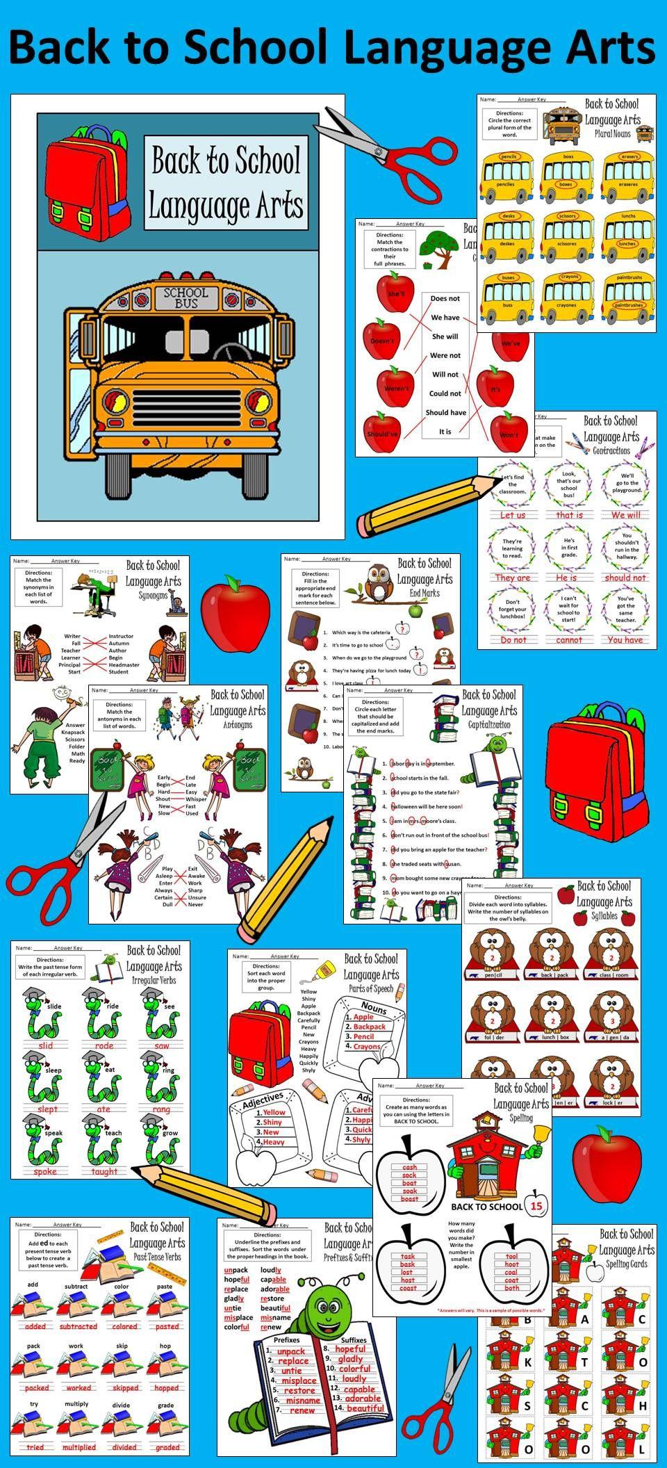 Back to School Activities: Back to School Language Arts Activity ...
