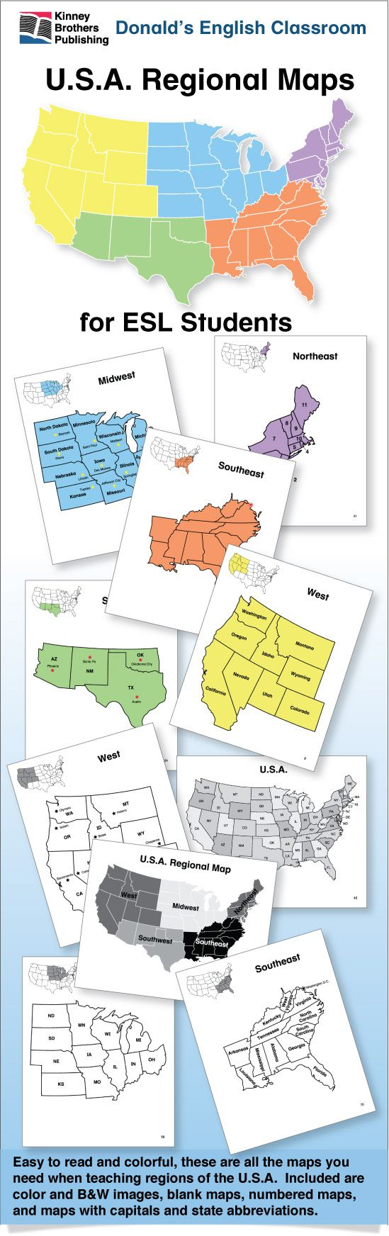 U S A Regional Maps Gives Your Esl Students A Clear Understanding Of U S Regional States Their