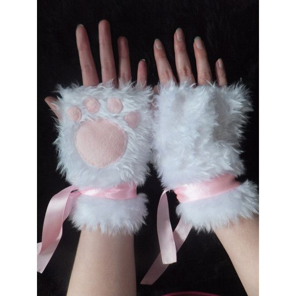 Cute White & Pink Furry Cat Paw Fingerless Gloves Wrist Warmers... ($23) ❤ liked on Polyvore featuring accessories, gloves, cat gloves, white gloves, pink gloves, pink fingerless gloves and white fingerless gloves