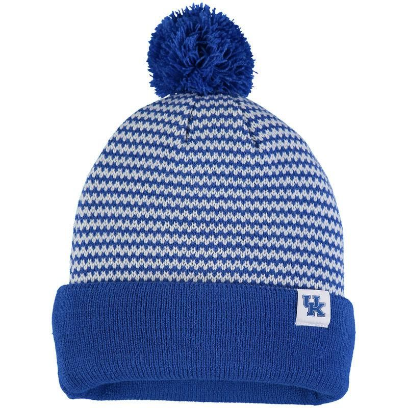 e2dbc7ef51a Kentucky Wildcats Nike Women s Stripe Cuffed Knit Hat with Pom - Royal