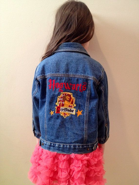 Harry Potter Hogwarts kids jean jacket size 3T by OffTheHookbyLora, $16.99
