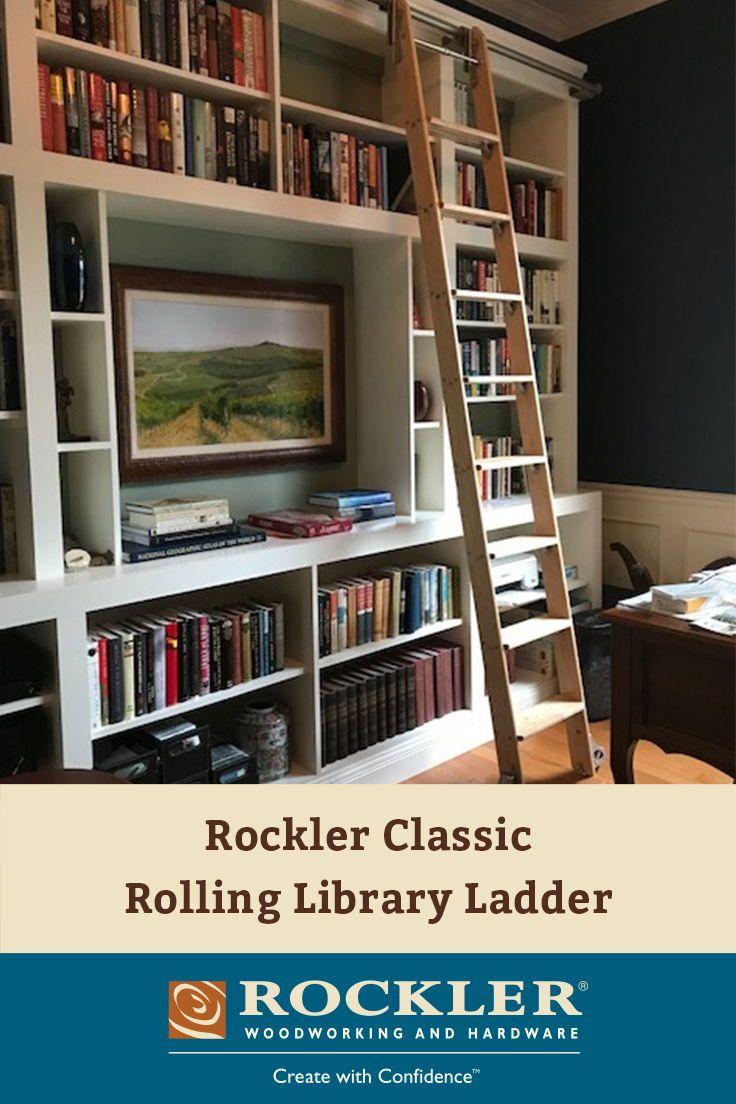 Rockler classic rolling library ladder ladder hardware satin
