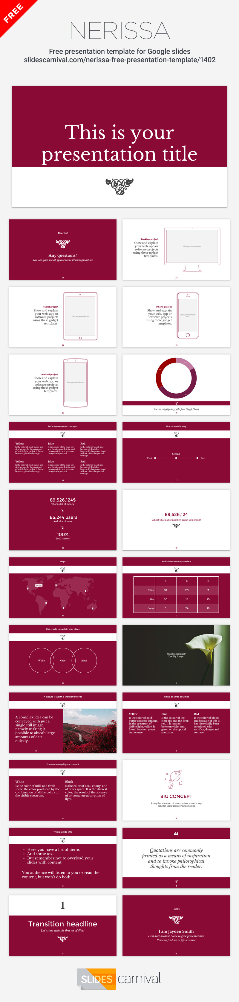 Nerissa Is A Classic And Elegant Free Presentation Template The Serif Typography The Sober Color Presentation Template Free Templates Presentation Templates