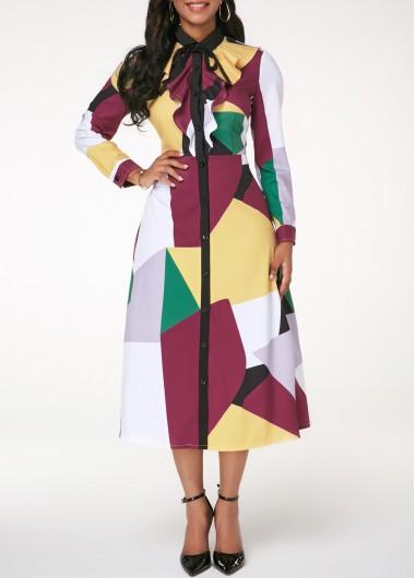 eb680e3e957 Split Neck Bowknot Embellished Peplum Waist Dress
