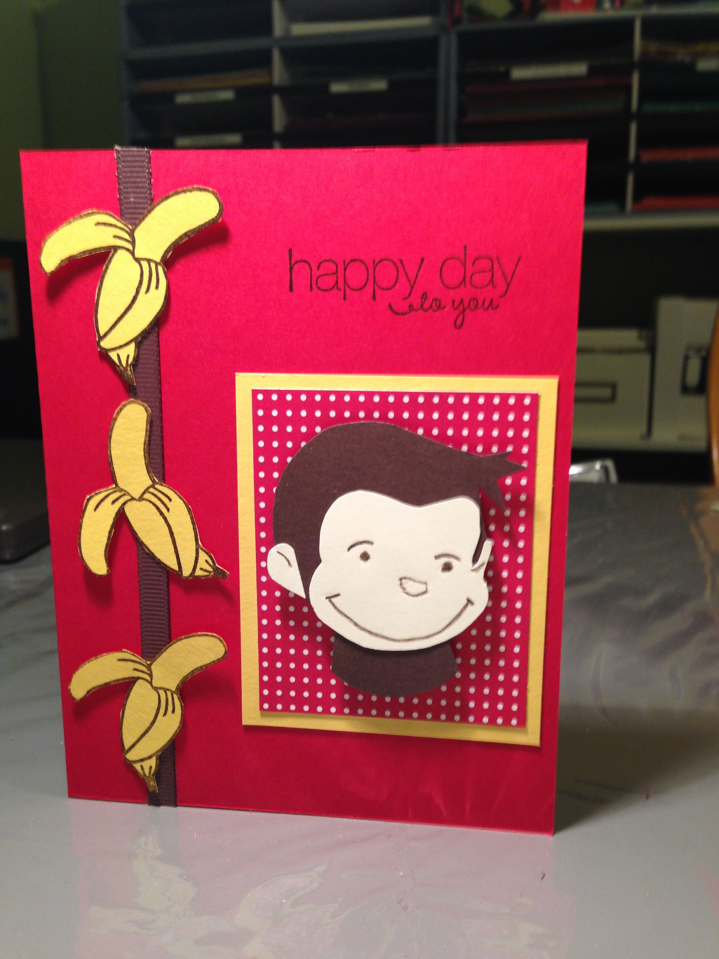 Outstanding Curious George Birthday Card With Stampin Up Colors Real Personalised Birthday Cards Veneteletsinfo