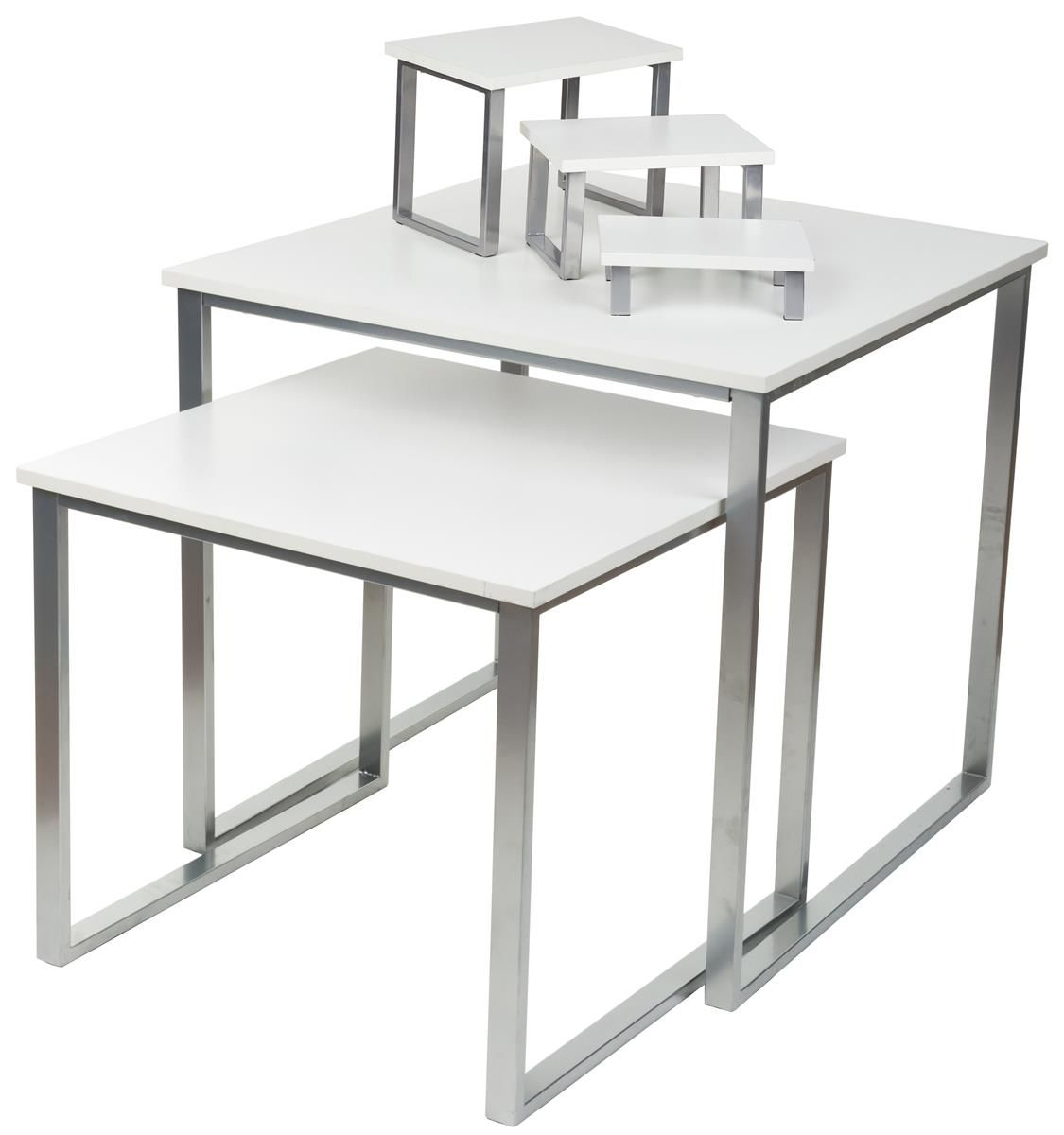 Set Of 2 Nesting Tables For Floor With 3 Tabletop Display Risers White