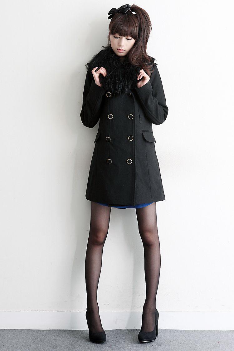 korean stockings long black coat + stockings + black pumps