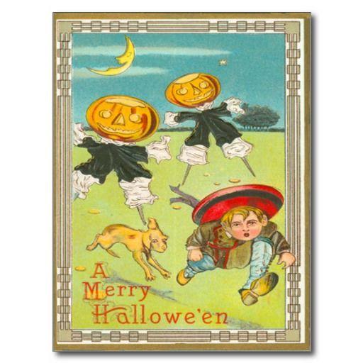 Jack O Lantern Monster Scarecrow Dog Moon Post Cards