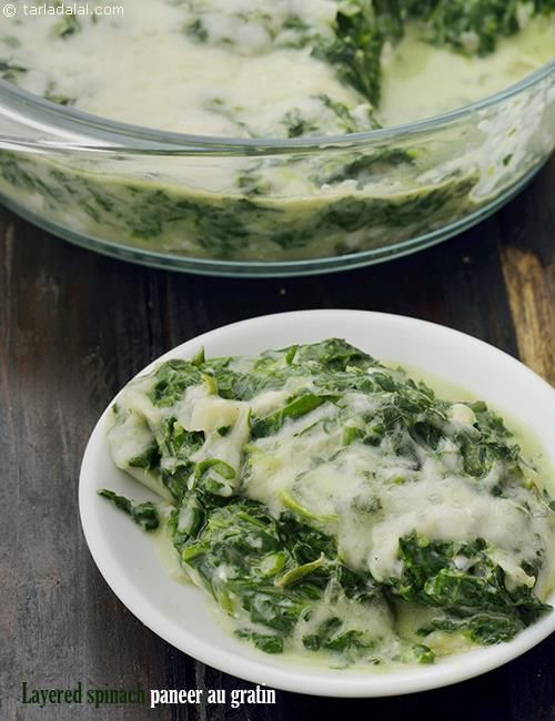 Layered spinach paneer au gratin paneer and spinach baked dish layered spinach paneer au gratin paneer and spinach baked dish recipe spinach recipes and dishes forumfinder Images