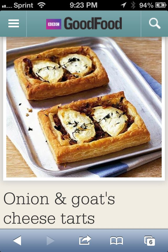 Goat Chese tarts. So yummy with tomato soup and salad  http://www.bbcgoodfood.com/recipes/2925/onion-and-goats-cheese-tarts
