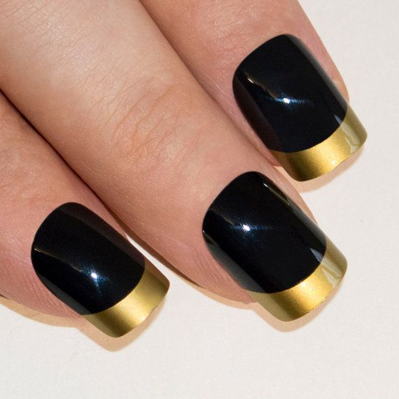 Christmas False Nails Uk: Bling Art False Nails French Manicure Dipped In Gold By