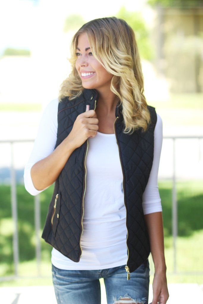 21+ Womens black quilted vest trends