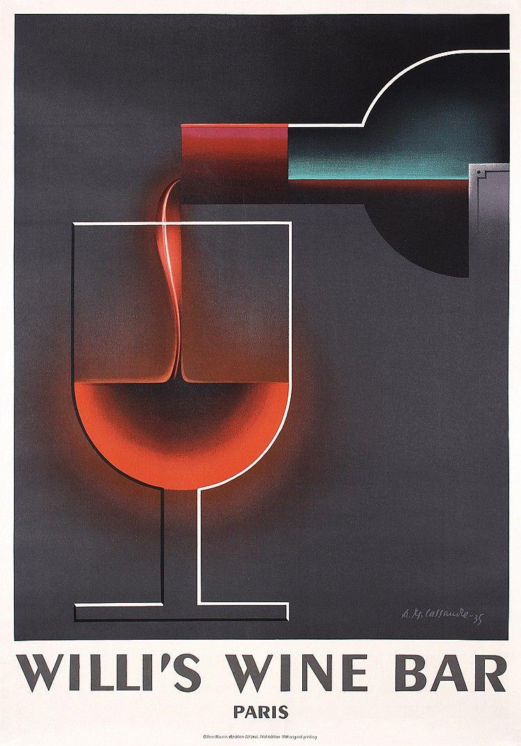 Stunning Original Willi S Wine Bar Cassandre Poster Wine Poster Wine Bar Wine Art