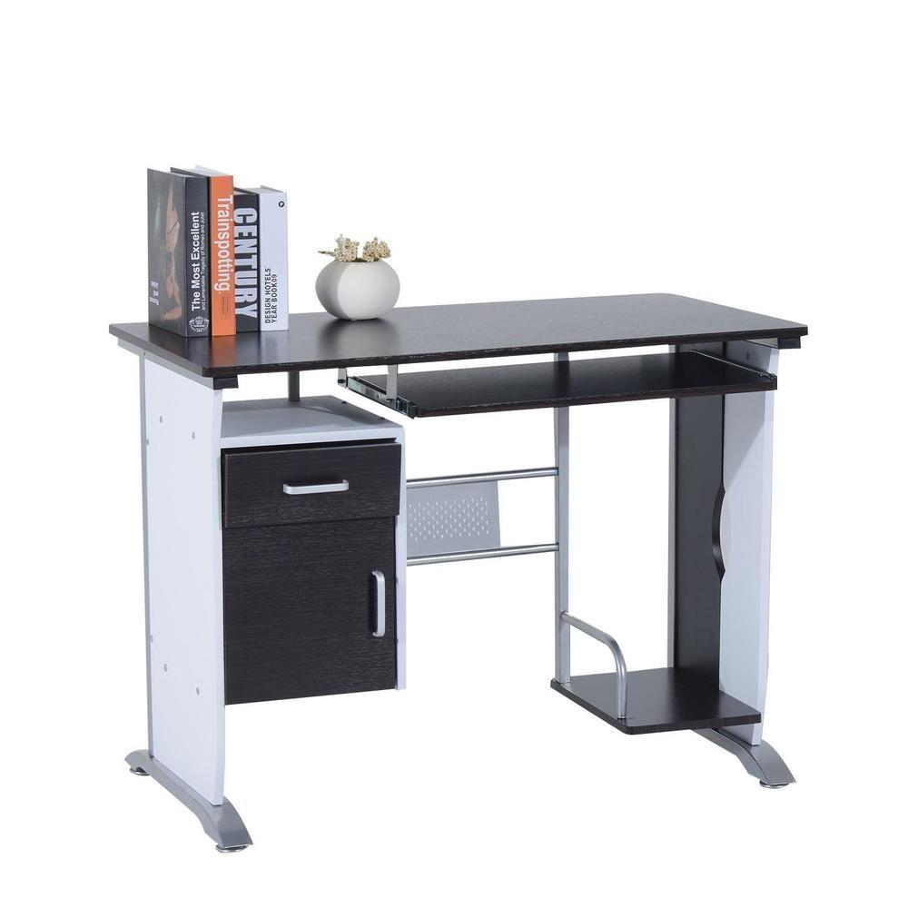 Details about black computer workstation office desk w pullout