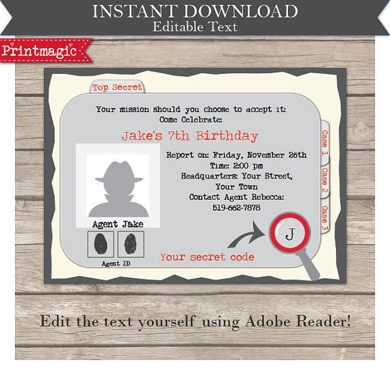 Secret agent detective party invitation spy party invitation secret agent detective party invitation editable by printmagic filmwisefo