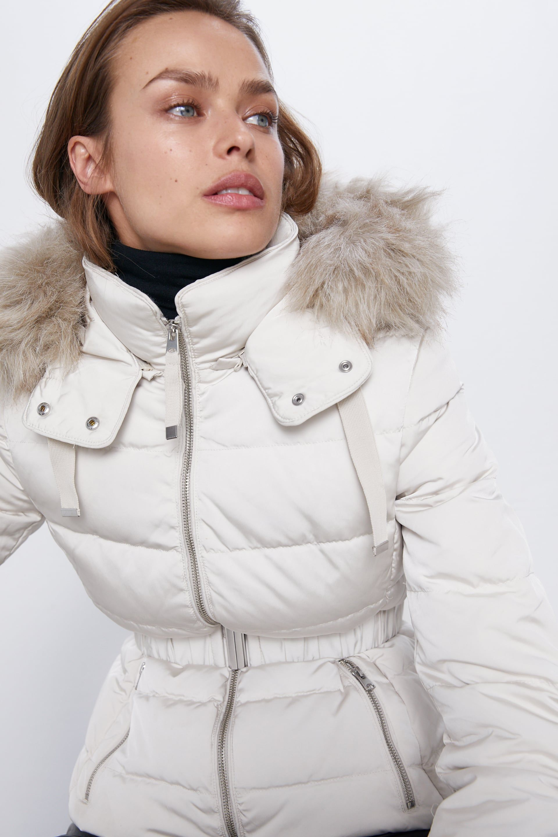 Hooded puffer coat in 2020 Faux shearling coat, Frilly