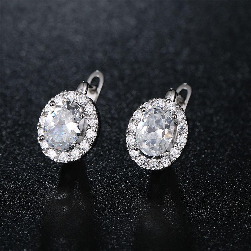Buckle Zirconium Stone Stud Earrings Beauty Women In 2019