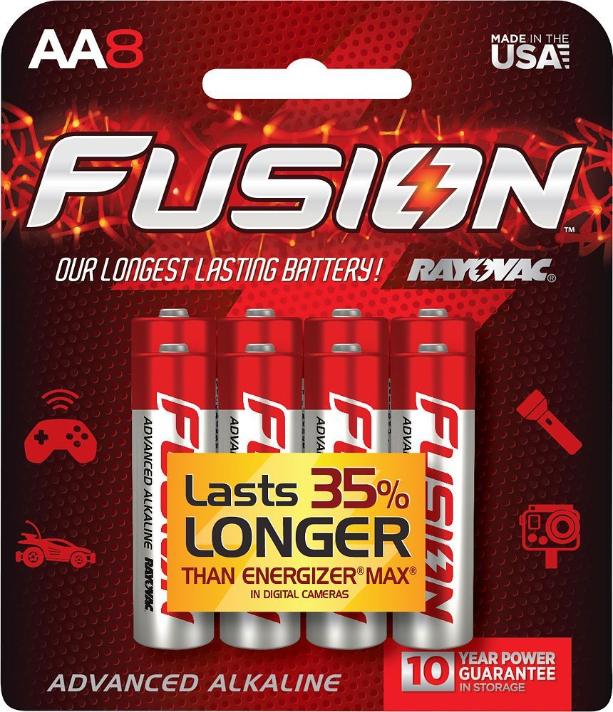Rayovac Fusion Aa Batteries 8 Pack 815 8ctfus Best Buy Alkaline Battery Alkaline Batteries
