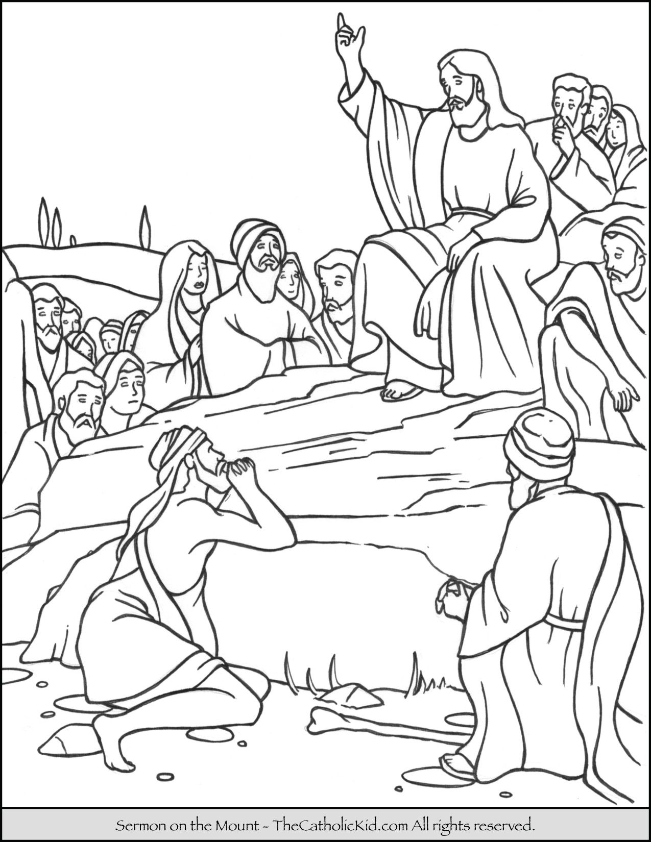 Sermon On The Mount Coloring Page Thecatholickid Com Jesus