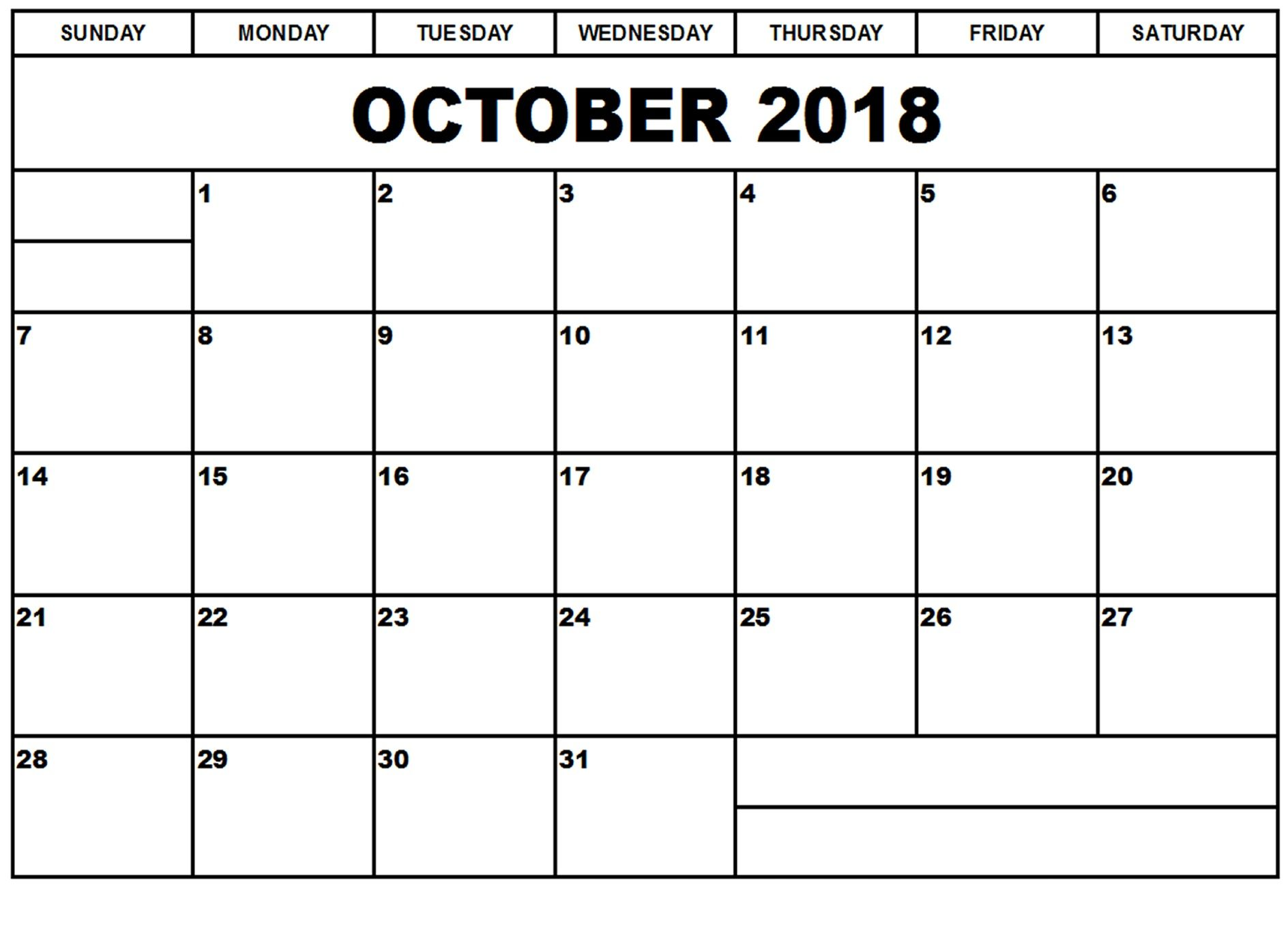 October 2018 Printable Calendar With Notes Printable October 2018