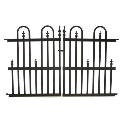 Aluminum Garden Fence Gate Panel, 24 By 36 Inch, Black