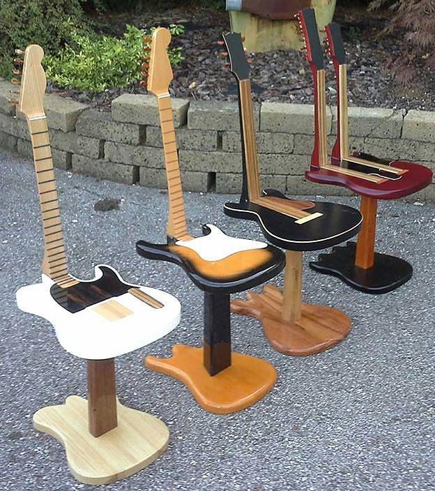 DiY chairs: Guitars where you can sit at. Basteltipp zum Wochenende: Der Klampfen-Hocker :) #diysaturday Source → http://tho.mn/5dgly