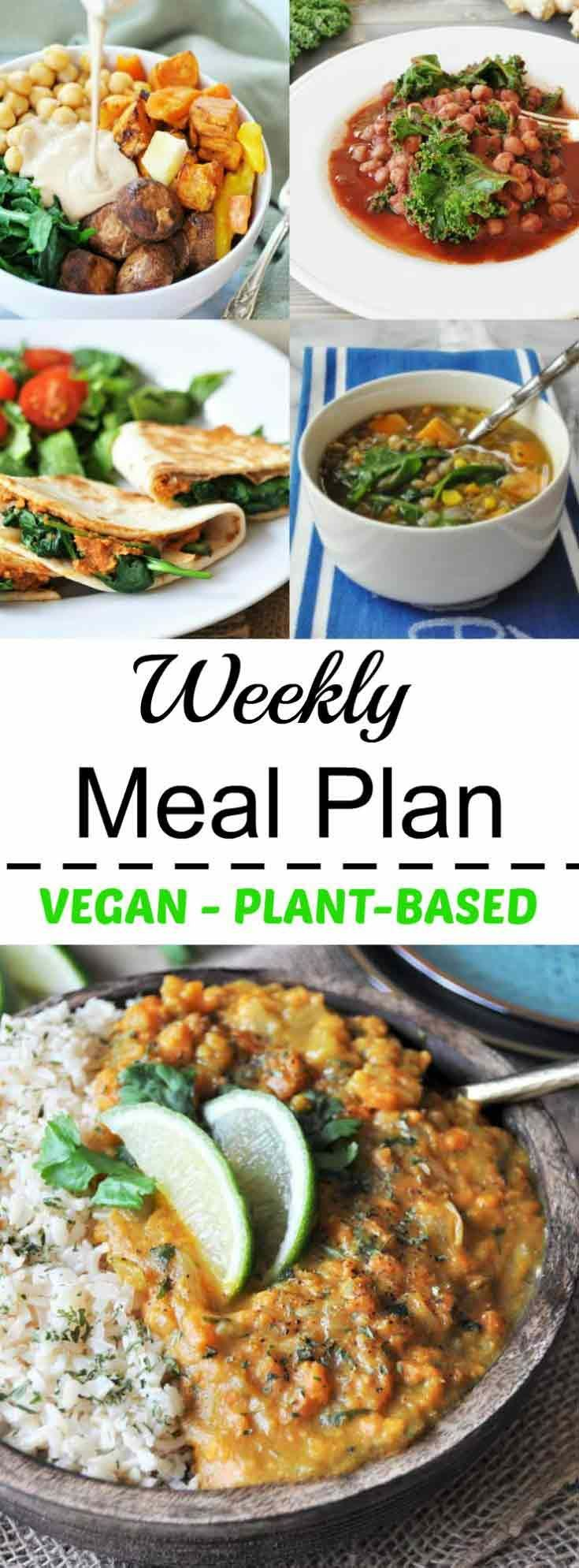 Vegan weekly meal plan. Healthy, fast, and easy plant-based dinners for weeknight dinners
