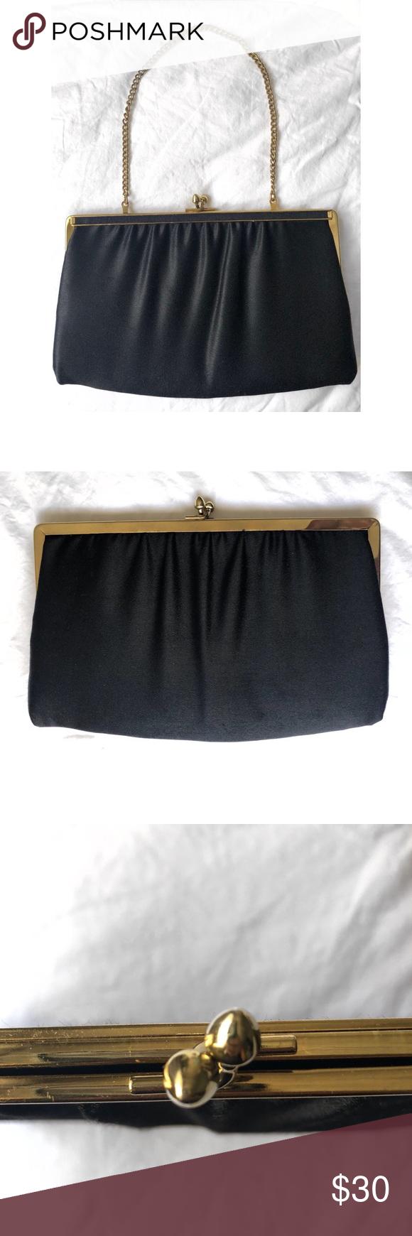 VINTAGE ANDE BLACK SATIN CLUTCH PURSE VINTAGE ANDE BLACK SATIN CLUTCH PURSE  Ande Bags Clutches   Wristlets 2d5ac4e50d