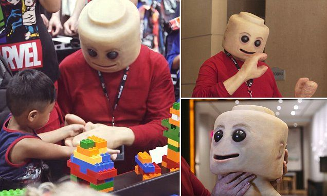 Terrifying real life Lego-man at Comic-Con will haunt your