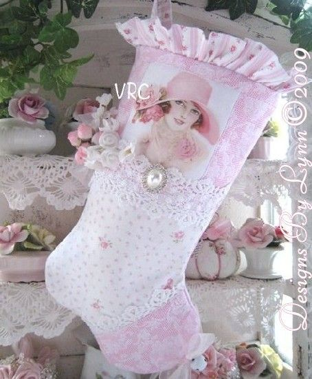 Pink Rose Victorian Lady Stocking OOAK  Designs By Lynn-pink, roses, shabby, chic, ruffles, Victorian, Vintage, Lynn,stocking, pink,