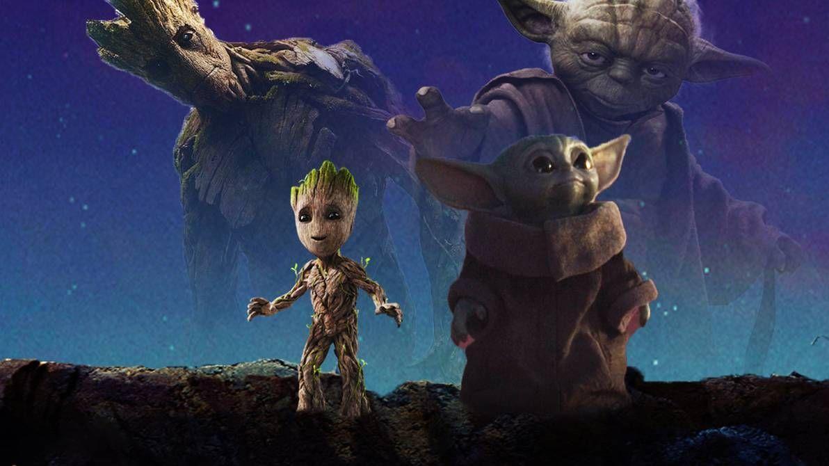 Baby Yoda And Baby Groot Wallpaper