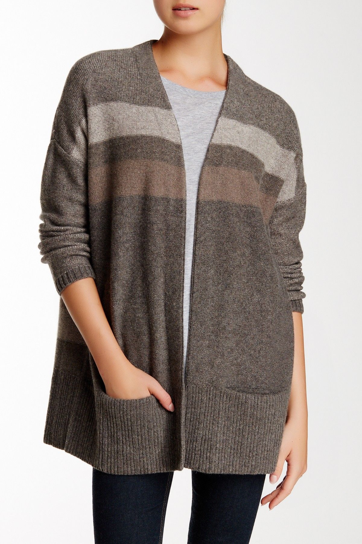 Striped Open Front Cashmere Cardigan Fashion Cashmere Cardigan