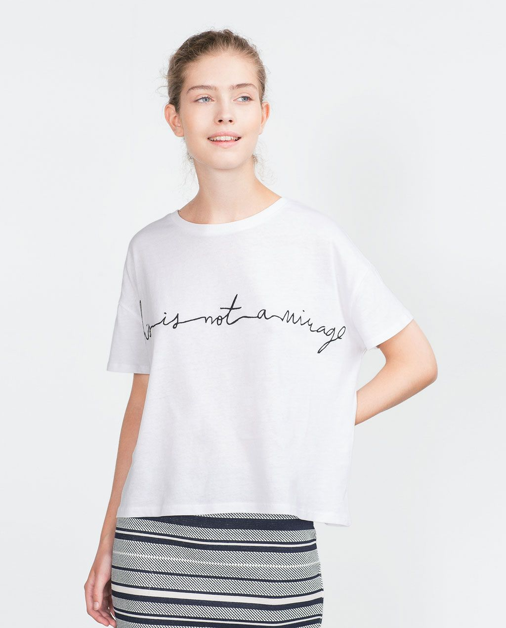 Zara black t shirt india - Image 1 Of T Shirt With Embroidered Text From Zara
