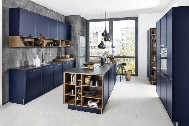 Couleur Cuisine Tendance 2017 Meubles Bleu Mat Carrelage Blanc Casse Et Suspensions Industrie Design De Cuisine Moderne Interieur De Cuisine Cuisine Moderne