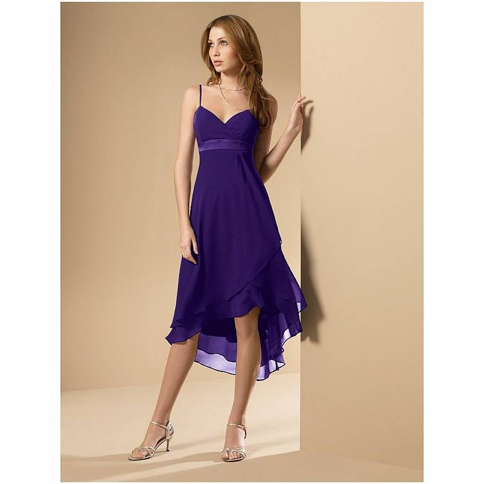 In silver very pretty length short chiffon purple bridesmaid dresses