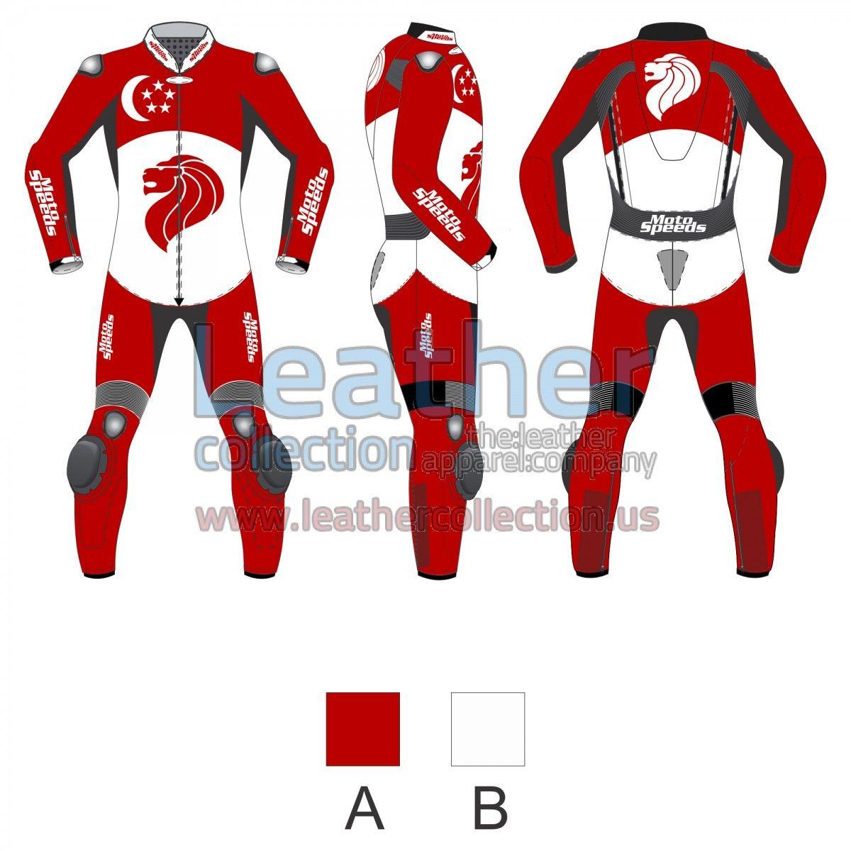 Singapore Flag Moto Suit - https://www.leathercollection.us/en-we/singapore-flag-moto-suit.html moto suit, Motorcycle suits #MotoSuit, #MotorcycleSuits