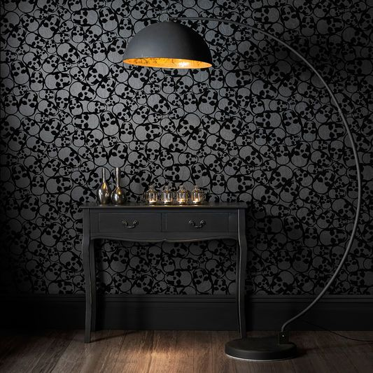 Skulls Black Wallpaper | Black wallpaper bedroom, Decor home ...